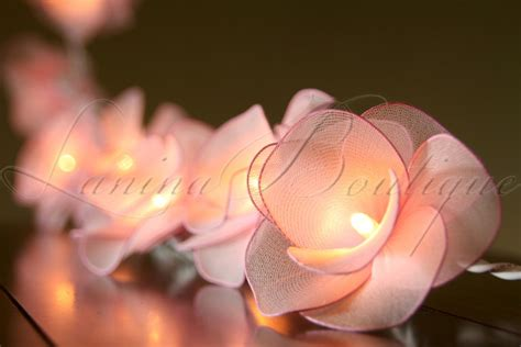 string flower lights 20 light pink flower battery operated led