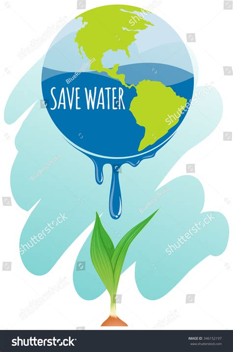 theme save earth save water theme earth plant illustration stock vector