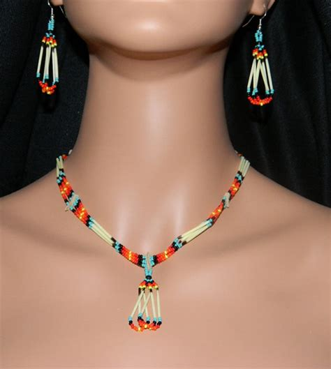 indian beaded jewelry american handmade quill and beaded necklace and earring