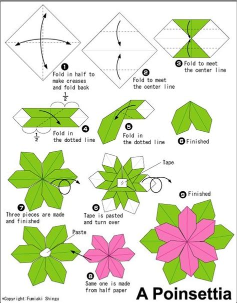 origami flower poinsettia poinsettia origami diy crafts