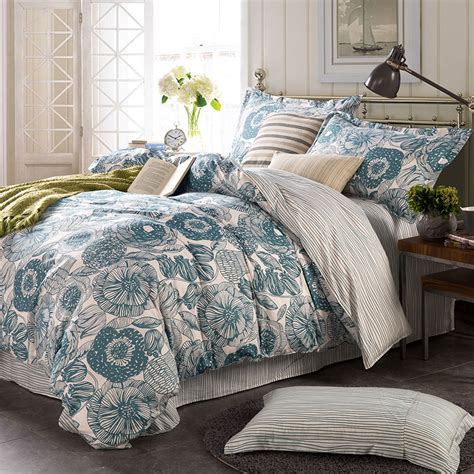 light blue and white comforter set light blue and white floral cotton bedding set ebeddingsets