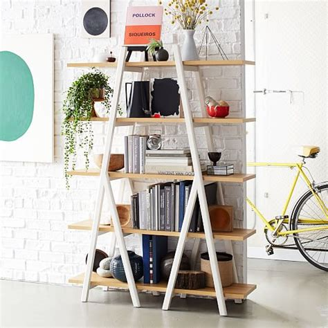 ladder for bookcase ladder bookshelf west elm