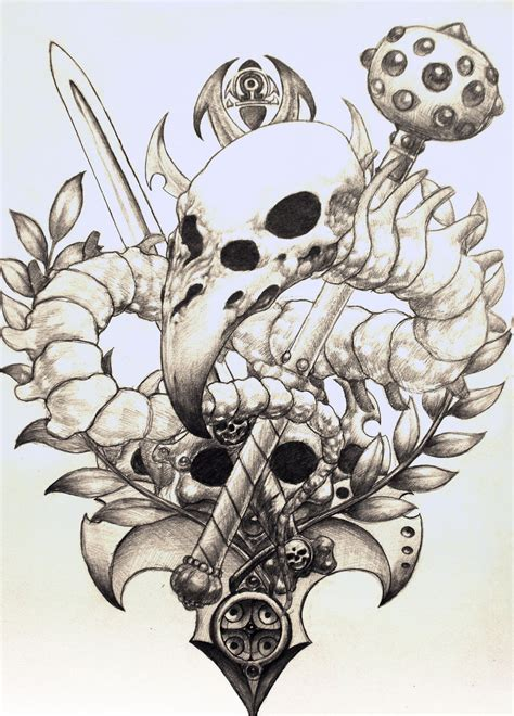birdskull tattoo design sketch by pseudodog on deviantart
