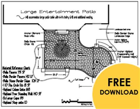 patio design plans free landscape patio design plans