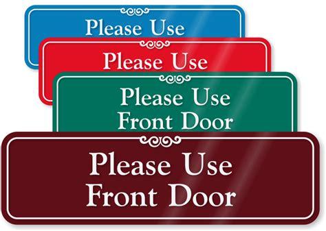 use front door use other door signs from mydoorsign