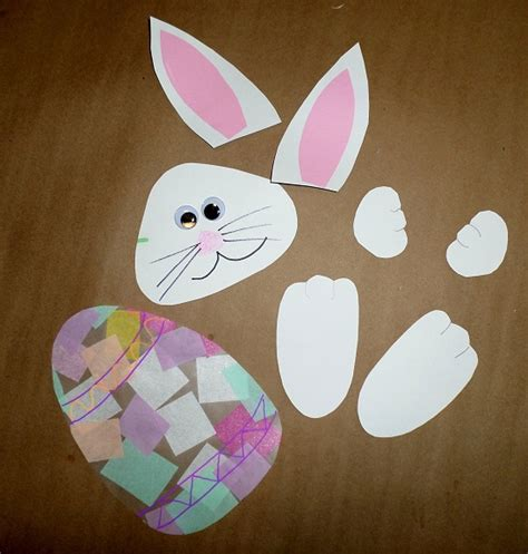 craft contact paper bunny holding an easter egg suncatcher crafty morning