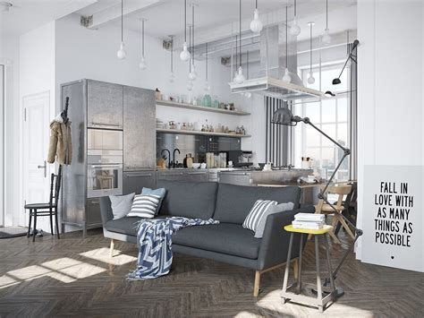 apartment style scandinavian apartment jazzed up by industrial design