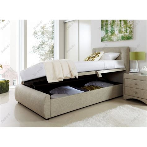 single ottoman storage bed 3ft single oatmeal fabric side opening ottoman storage bed