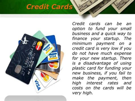 starting a card business ppt various sources of start up financing us business