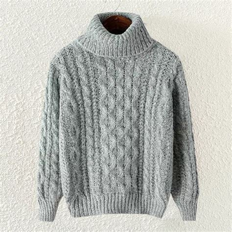 how to knit a jumper grey casual high neck cable knit pullover polyester jumper