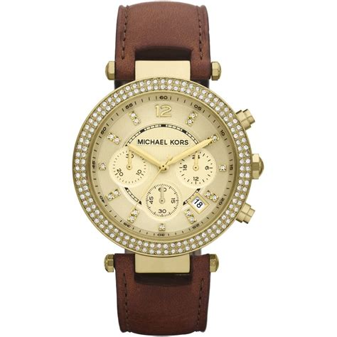 womens watches leather band s leather chronograph mk2249 michael kors from company uk