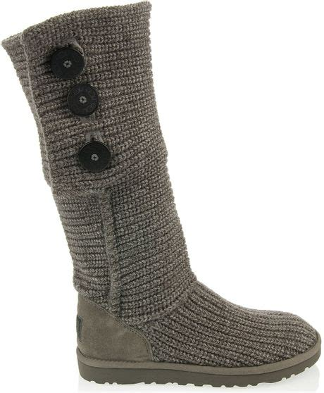 knitted uggs ugg knitted boot in gray grey lyst