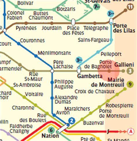 porte de bagnolet station map metro