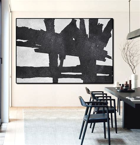 acrylic painting ideas black and white painted large abstract painting by fabuartdecor
