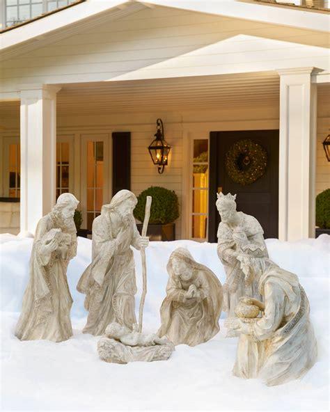 outdoor holy family set outdoor nativity set balsam hill
