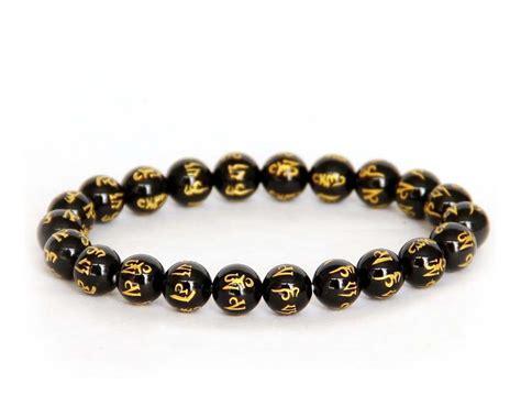 black bead bracelet meaning tibet buddhist black agate six true word mantra prayer