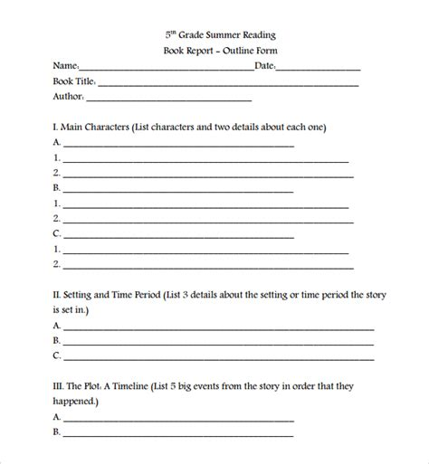 picture book report sle book report template 8 free documents