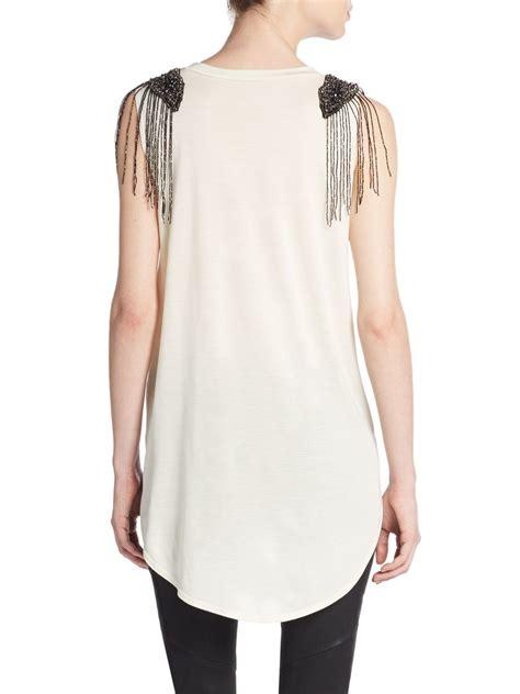 haute hippie beaded top haute hippie beaded fringe sleeve top in black swan