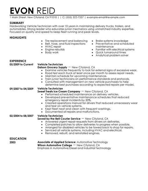 diesel mechanic resume examples resume format 2017
