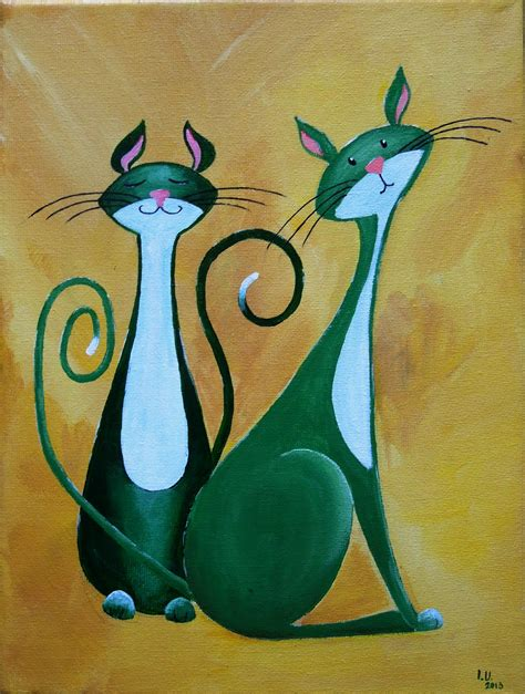 simple cat painting pictures cats painting happy naturelands