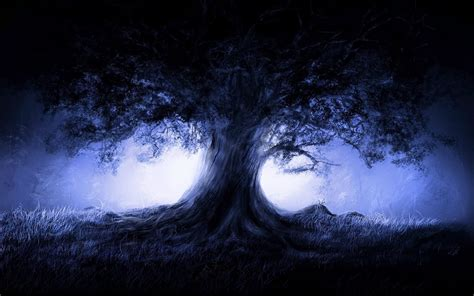 tree horror blue tree horror wallpaper