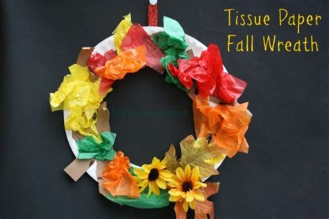 construction paper crafts for fall tissue paper fall wreath happy hooligans