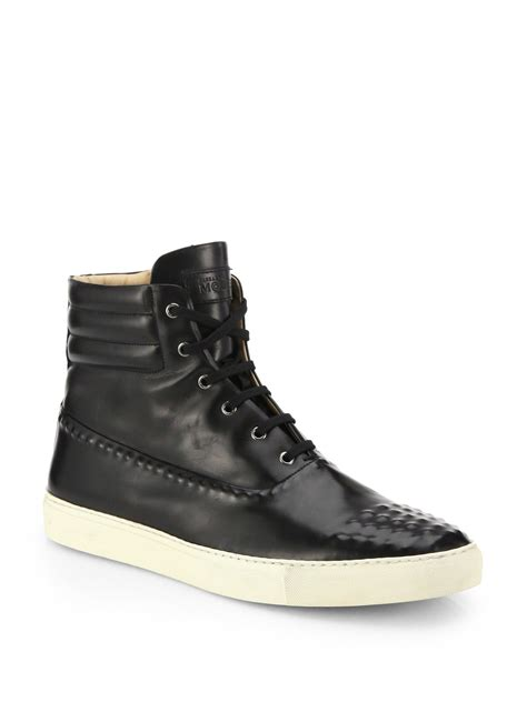 leather high top shoes for mcqueen studded leather high top sneakers in