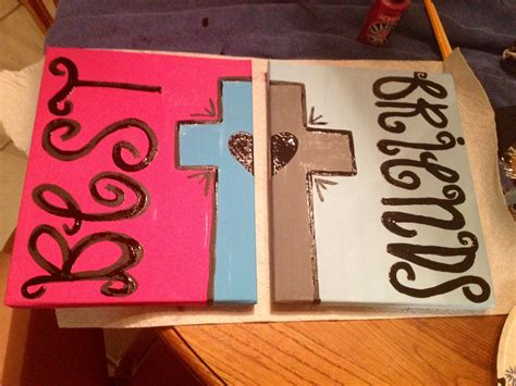 best friend crafts for best friend painting with cross and on 2 canvases