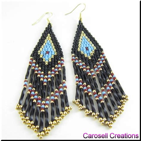 how to bead earrings with seed american seed bead fringe earrings by