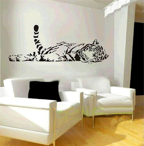 black wall stickers elephant wall decal animal zoo lying up tiger