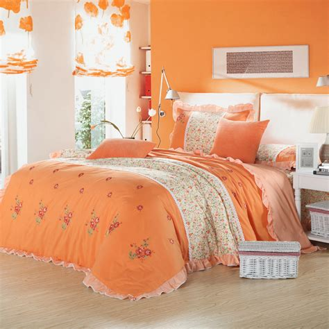 pink and orange bedding sets country style pink green orange flower print embroidered