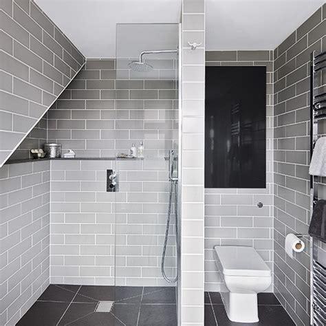 modern gray tile bathroom grey modern room with metro tiles decorating