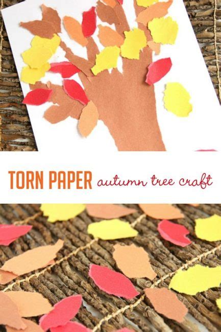 paper tearing craft torn paper autumn tree craft for on as we grow