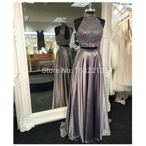 Heavy Beaded Dress Two Pieces Style Prom Dress Plus Size