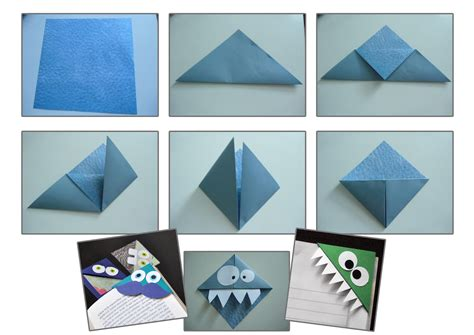 origami page tuto origami marque page monstre activites