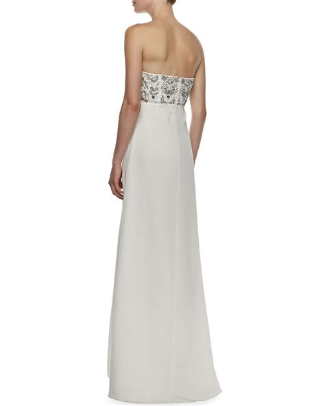 aidan mattox beaded aidan mattox strapless beaded draped front gown in white