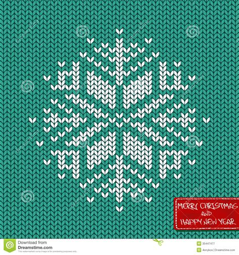 knit snowflake ornament pattern and new year knitted seamless pattern or card
