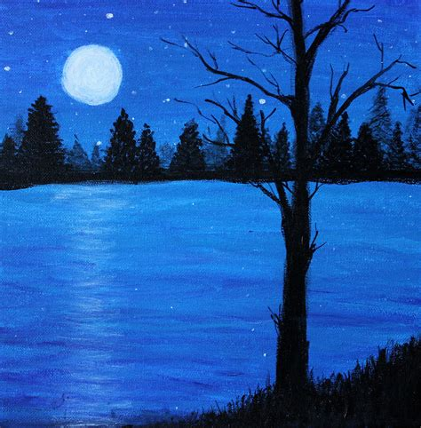 acrylic painting moonlight moonlight on the water painting by landon