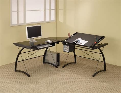 glass l glass l shaped table desk thediapercake home trend