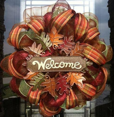 autumn front door decorating ideas fall deco mesh wreath ideas inspiring autumn decor for