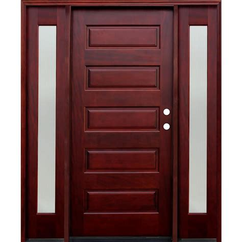 70s door pacific entries 70 in x 80 in 5 panel stained mahogany