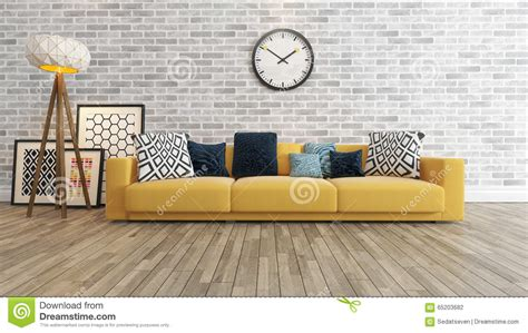 Free Interior Design For Home Decor living room with big watch on white brick wall 3d