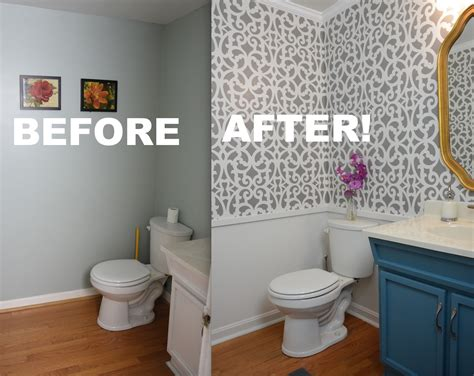 Bathroom Stencil Ideas by My Colorful Small Gray Bathroom Makeover With Stencils