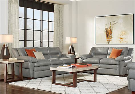 grey leather living room furniture aventino gray leather 3 pc living room classic