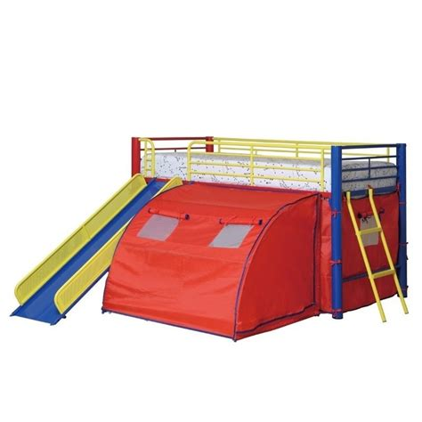 coaster loft bed coaster metal loft bunk bed with slide and tent