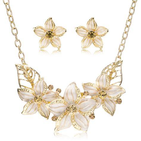 enamel flowers for jewelry cz rhinestone enamel flowers jewelry sets gold plating