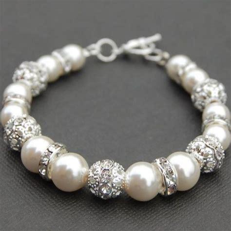 own jewelry bridal jewelry ivory pearl rhinestone bracelet bling