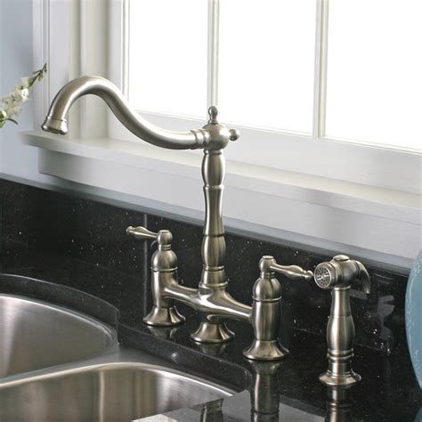 charelstown 2 handle brushed nickel lead free bridge style kitchen faucet contemporary