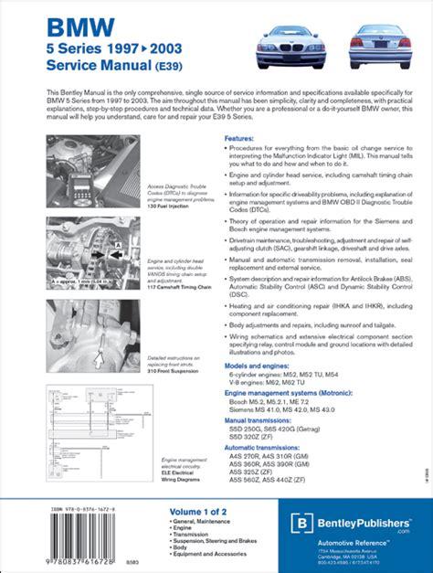 online car repair manuals free 2002 bmw 7 series parental controls back cover bmw repair manual bmw 5 series e39 1997 2003 bentley publishers repair