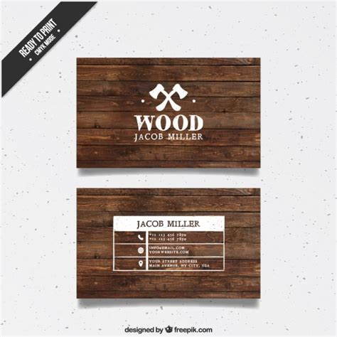 woodwork company wooden business card vector free